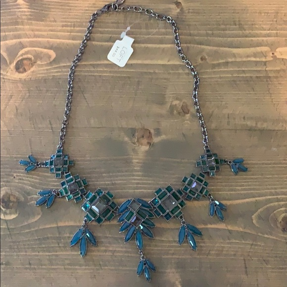 LOFT NWT teal blue/grey statement necklace